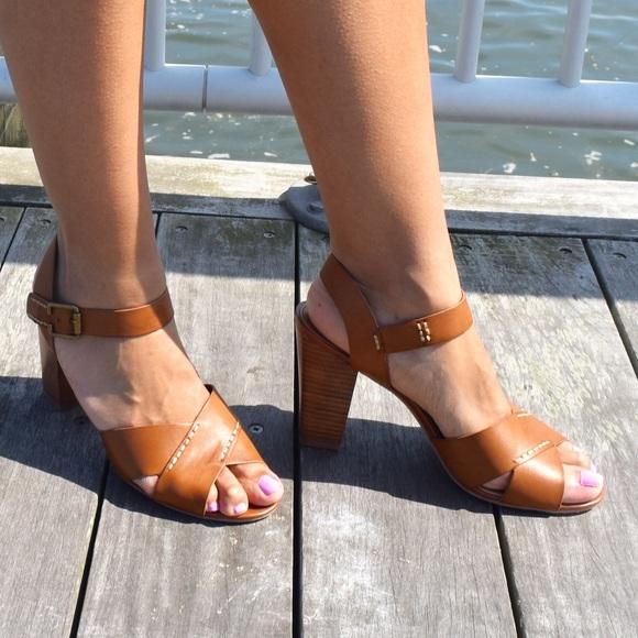 Crown Vintage Cognac Tan Block Heel